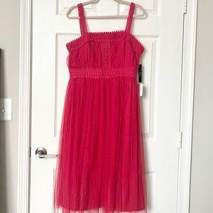 Lulus Forever Love Red Swiss Dot Midi Dress